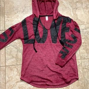 Maroon Love light weight hooded sweat shirt